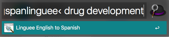 """An example of a Linguee search with Alfred for """"drug development"""""""