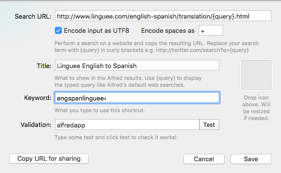 Here's what your Alfred settings should look like for your custom Linguee search.